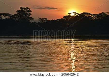 Special sunset in an african lake in Kenia.