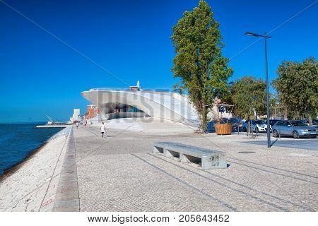 LISBON PORTUGAL - SEPTEMBER 13 . 2017 . MAAT (Museu de Arte Arquitetura e Tecnologia) building in Lisbon Portugal.