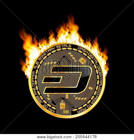 Crypto currency golden coin with black lackered dash symbol on obverse surrounded by realistic flame and isolated on black background. Vector illustration.