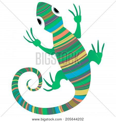 Lizard African Design Vector Illustration Hand Drawn