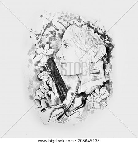 Sketch of a girl with a gun in flowers on white background.