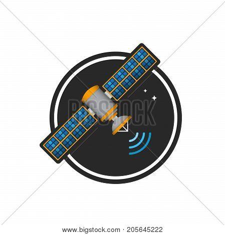 Cosmic satellite in colored vector illustration logo