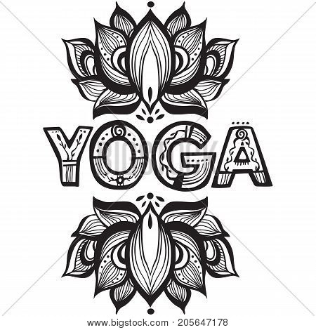 Word Yoga with vector lotus flower silhouette