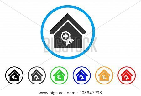 Certified Clinic Building rounded icon. Style is a flat certified clinic building gray symbol inside light blue circle with black, gray, green, blue, red, orange variants.