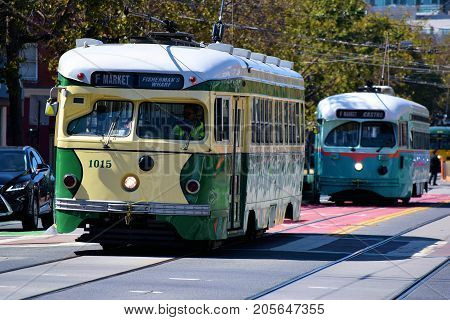 September 19, 2017 in San Francisco, CA:  Historic Railway Street Cars which is part of the local transit system taken in San Francisco, CA where people can commute between the Castro District and Fisherman's Warf on Market Street