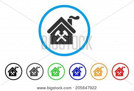 Forge Building rounded icon. Style is a flat forge building grey symbol inside light blue circle with black, gray, green, blue, red, orange variants. Vector designed for web and software interfaces.