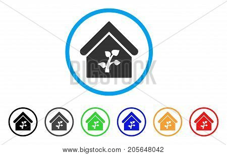 Greenhouse Building rounded icon. Style is a flat greenhouse building grey symbol inside light blue circle with black, gray, green, blue, red, orange variants.