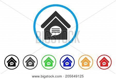 Realty Message rounded icon. Style is a flat realty message grey symbol inside light blue circle with black, gray, green, blue, red, orange versions. Vector designed for web and software interfaces.