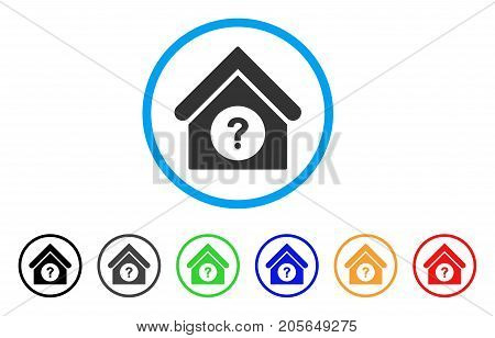 Status Building rounded icon. Style is a flat status building grey symbol inside light blue circle with black, gray, green, blue, red, orange versions. Vector designed for web and software interfaces.