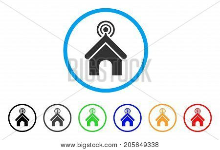 Telecom Office rounded icon. Style is a flat telecom office gray symbol inside light blue circle with black, gray, green, blue, red, orange variants. Vector designed for web and software interfaces.