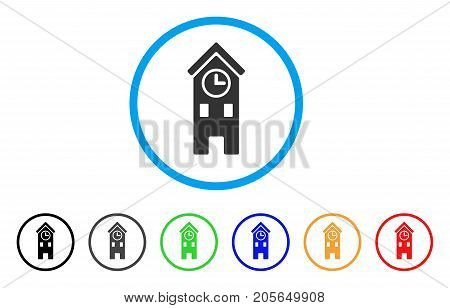 Clock Tower rounded icon. Style is a flat clock tower gray symbol inside light blue circle with black, gray, green, blue, red, orange versions. Vector designed for web and software interfaces.