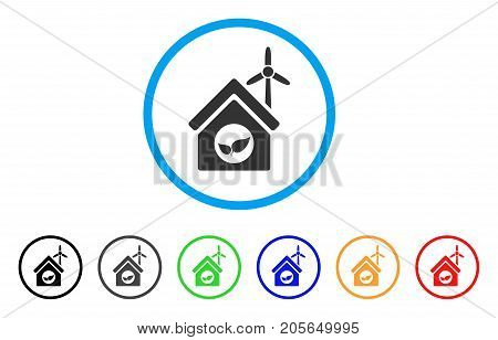 Eco House Building rounded icon. Style is a flat eco house building gray symbol inside light blue circle with black, gray, green, blue, red, orange color versions.