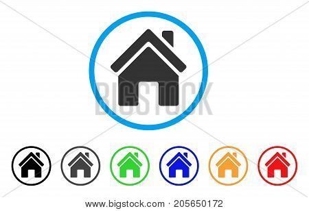 Home Building rounded icon. Style is a flat home building grey symbol inside light blue circle with black, gray, green, blue, red, orange variants. Vector designed for web and software interfaces.