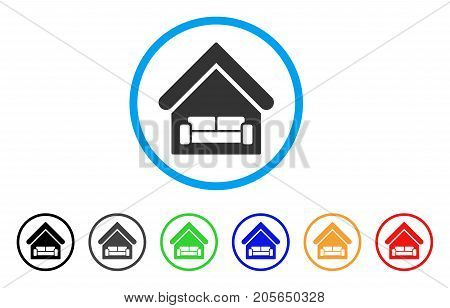 House Interrior rounded icon. Style is a flat house interrior grey symbol inside light blue circle with black, gray, green, blue, red, orange variants. Vector designed for web and software interfaces.