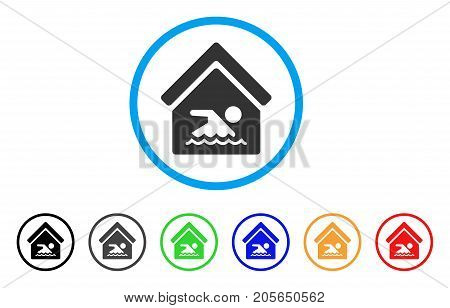 Indoor Water Pool rounded icon. Style is a flat indoor water pool grey symbol inside light blue circle with black, gray, green, blue, red, orange color versions.