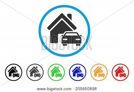 Property rounded icon. Style is a flat property grey symbol inside light blue circle with black, gray, green, blue, red, orange versions. Vector designed for web and software interfaces.