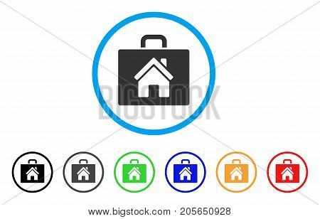 Realty Case rounded icon. Style is a flat realty case gray symbol inside light blue circle with black, gray, green, blue, red, orange versions. Vector designed for web and software interfaces.