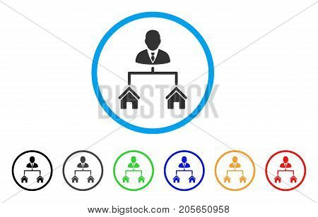 Realty Manager rounded icon. Style is a flat realty manager grey symbol inside light blue circle with black, gray, green, blue, red, orange color versions.