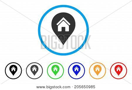 Realty Map Marker rounded icon. Style is a flat realty map marker gray symbol inside light blue circle with black, gray, green, blue, red, orange versions.