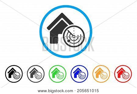 Realty Radar rounded icon. Style is a flat realty radar grey symbol inside light blue circle with black, gray, green, blue, red, orange color versions. Vector designed for web and software interfaces.
