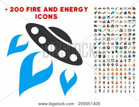 UFO Start Fire pictograph with bonus energy images. Vector illustration style is flat iconic symbols for web design, app user interface.