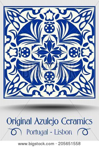 Vintage ceramic tile in azulejo design with blue patterns on white background, traditional Spain and Portugal pottery, vector EPS 10