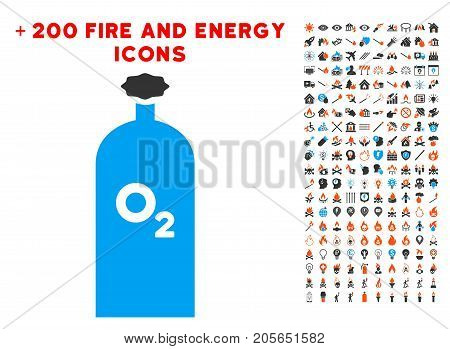 Oxygen Gas Cylinder pictograph with bonus energy pictograph collection. Vector illustration style is flat iconic elements for web design, app ui.