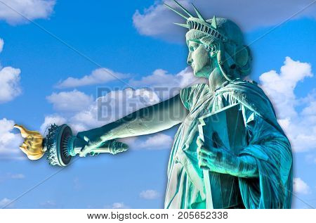 Statue of Liberty with her arm down and sad.