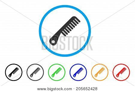 Comb rounded icon. Style is a flat comb gray symbol inside light blue circle with black, gray, green, blue, red, orange variants. Vector designed for web and software interfaces.