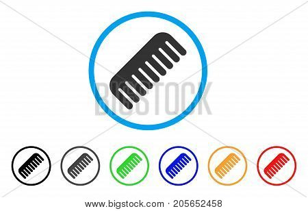 Comb rounded icon. Style is a flat comb gray symbol inside light blue circle with black, gray, green, blue, red, orange versions. Vector designed for web and software interfaces.