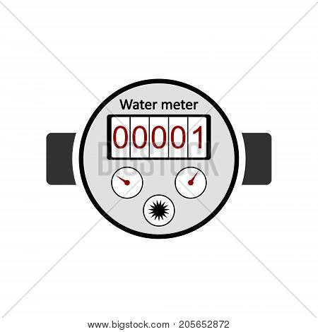 Water meter icon on white background. Vector illustration.