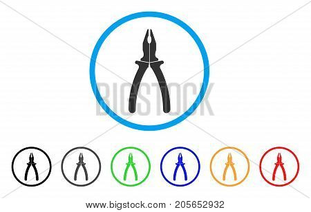 Pliers rounded icon. Style is a flat pliers grey symbol inside light blue circle with black, gray, green, blue, red, orange versions. Vector designed for web and software interfaces.