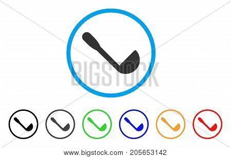 Scoop rounded icon. Style is a flat scoop grey symbol inside light blue circle with black, gray, green, blue, red, orange versions. Vector designed for web and software interfaces.