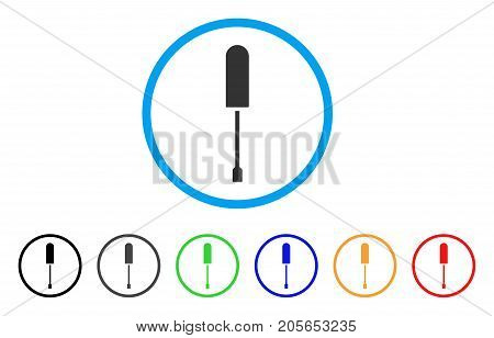 Screwdriver rounded icon. Style is a flat screwdriver grey symbol inside light blue circle with black, gray, green, blue, red, orange variants. Vector designed for web and software interfaces.
