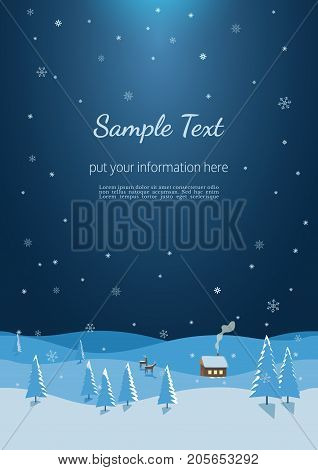 New Year Winter Season Holidays poster. Flyer template size A4. Christmas moonlight night landscape. Reindeers near snowy rural house in forest. Decorative seasonal event banner. Vector illustration
