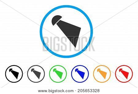 Searchlight Beam rounded icon. Style is a flat searchlight beam gray symbol inside light blue circle with black, gray, green, blue, red, orange versions.