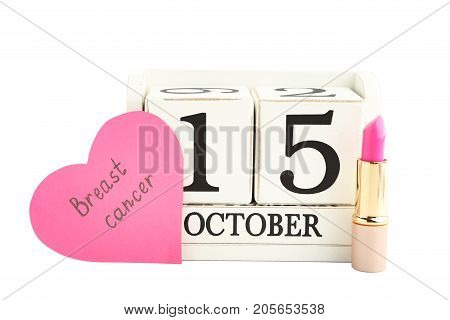 Inscription Brest Cancer On Pink Heart With Calendar Cubes And Pomade Isolated On White