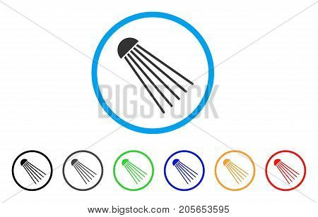 Spray Source rounded icon. Style is a flat spray source gray symbol inside light blue circle with black, gray, green, blue, red, orange variants. Vector designed for web and software interfaces.