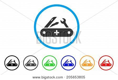 Swiss Knife rounded icon. Style is a flat swiss knife grey symbol inside light blue circle with black, gray, green, blue, red, orange versions. Vector designed for web and software interfaces.