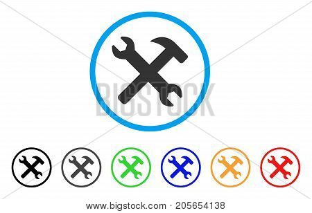 Wrench And Hammer Tools rounded icon. Style is a flat wrench and hammer tools gray symbol inside light blue circle with black, gray, green, blue, red, orange color versions.