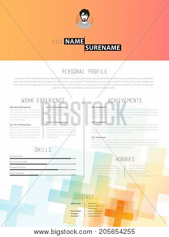 Creative cv template with plus signs. Vector art