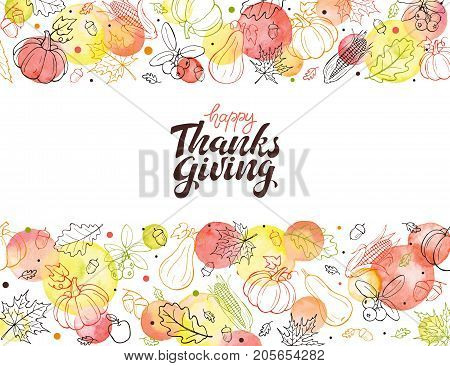 Happy thanksgiving day. Hand drawn lettering with watercolor dots isolated on white background. Thanksgiving poster with autumn leaves frame. Horisontal composition from autumn symbols.