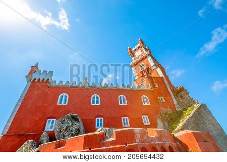 Pena National Palace seen from Castle of the Moors in Sintra, Portugal. Unesco Heritage Site. Architecture background.