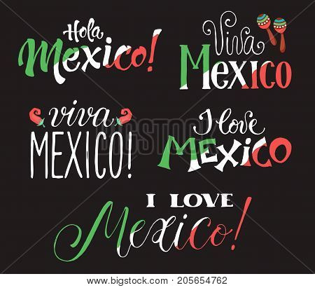 Mexico wording isolated on white background. Viva Mexico. Hand drawn mexican lettering.