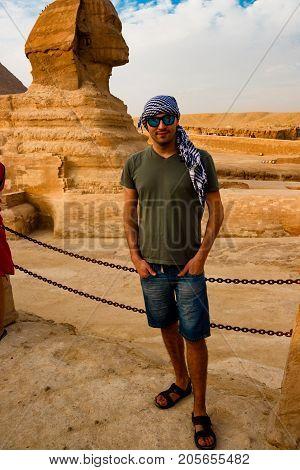 Sphinx guarding the pharaohs in Giza. Cairo, Egypt