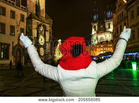 Young Woman At Christmas In Prague Czech Republic Rejoicing