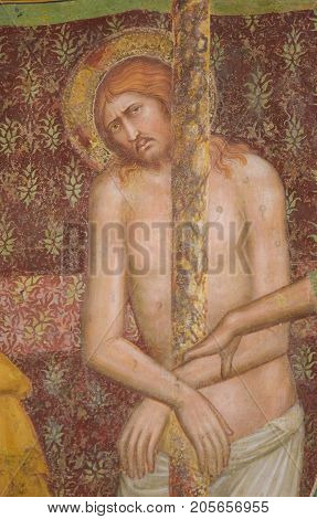 Fresco In San Gimignano - Flagellation Of Jesus Christ