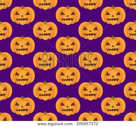 Halloween pumpkin seamless pattern. Scary repeating texture, endless background. Vetor illustration