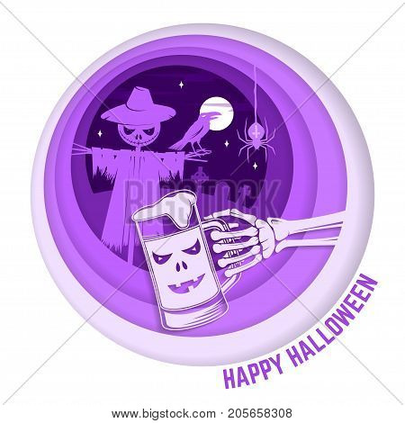 Happy Halloween. Paper art carving style design for Halloween overlay, labels, shirt, logo, print, seal. Scarecrow with raven and skeleton hand with glass of magic beer in the cemetery. Typography design- stock vector.