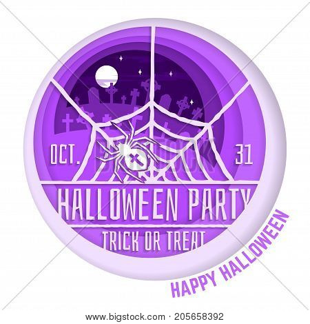 Halloween party. Paper art carving style design for Halloween overlay, labels, shirt, logo, print, seal. Spider and web on the cemetery. Typography design- stock vector.